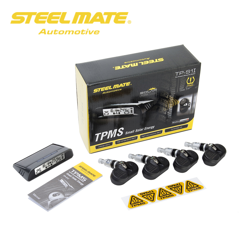 Steelmate TP S1I TPMS Tire Pressure Monitor System Wireless Solar powered Display 4 Internal Sensors-in Tire Pressure Alarm from Automobiles & Motorcycles    1