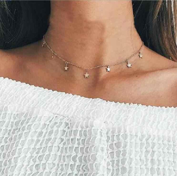 X073 collier à la mode bohème étoile pendentif déclaration pour les femmes chaîne dorée Choker collier court Bijoux Femme Boho Bijoux Colar