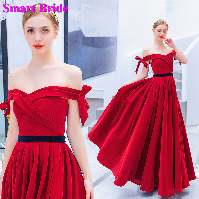Off Shoulder   Prom     Dresses   A line Red Evening Formal Women's Wedding Lace Up Back Custom Made Formal   Prom   Gown PD78