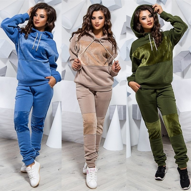 Vertvie Women Long Sleeve Sportswear Casual Running Sets Velvet Patchwork Sweatshirt Suit Hoodies Two Piece Tracksuits Workout