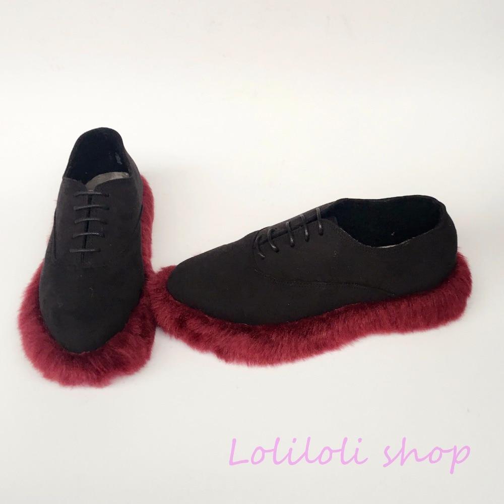 Diseño 4174n Flock De Lolita Personalizado Loliloli Vino Princesa Yoyo Dulce Multiple Rojo Zapatos Conejo Plana Japonés Plataforma Piel Negro TOXqwz