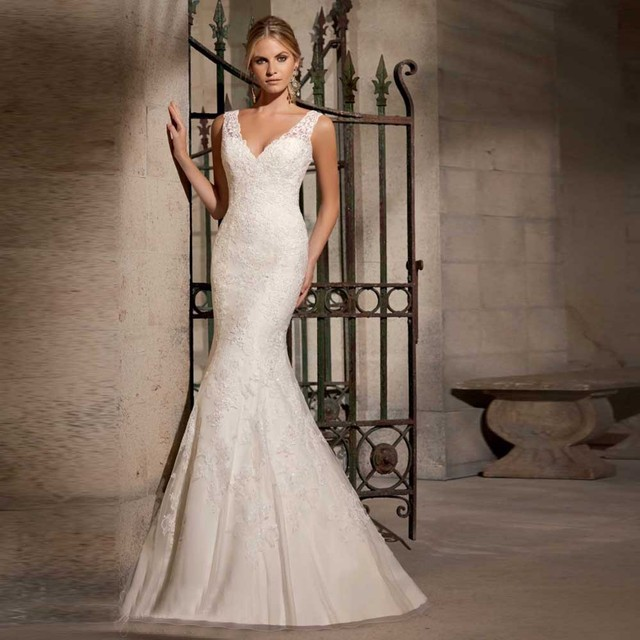 Mermaid Style Wedding Dresses With Color : Simple style mermaid lace appliques wedding gowns tank wrap cort train