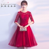 Solid Red Color Lace Homecoming Dresses Charming Scoop Half Sleeve Cut out Graduation Dress Vestidos De Graduacion