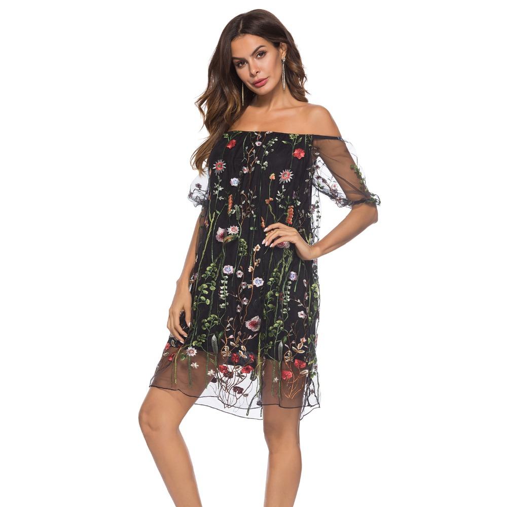 Women 39 s Sexy dresses Slash neck Embroidery lace Seven quarter sleeve Casual dress New Summer Office Knee Big Size dress Vestido in Dresses from Women 39 s Clothing