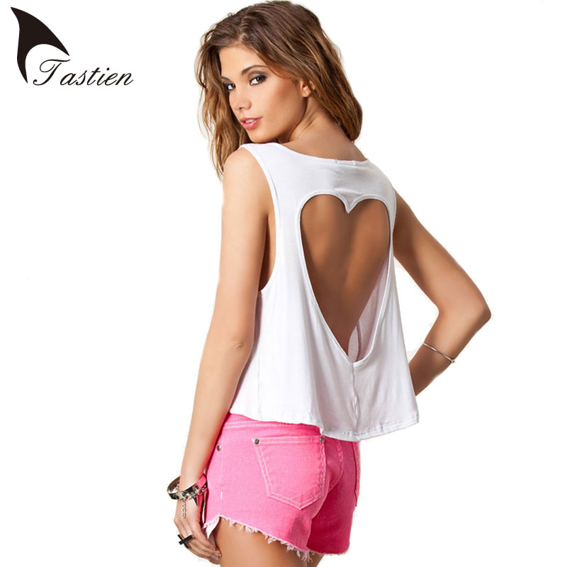 TASTIEN 2016 New Summer Tank Women Casual Vest Hollow Out Crop Tops Sexy Back Heart Shape High Quality Girls Vest Camisole Shirt
