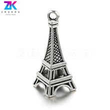 ZHUKOU 5PCS New Eiffel Tower charms for handmade Earring Jewelry making 13x33mm Copper Necklace Pendant Jewelry accessories PD2A stylish eiffel tower pendant necklace for women