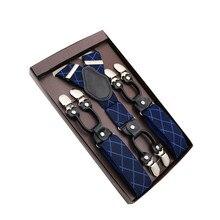 3,5*120 см модные подтяжки натуральная кожа 6 клипы приготовьтесь мужской Винтаж Повседневное Свадебная вечеринка брюки ремень мужа подарок