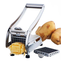Stainless Steel French Professional Fry Cutter Machine Vegetable Potato Kitchen Chipper Slicer with 2 Interchangeable Blades
