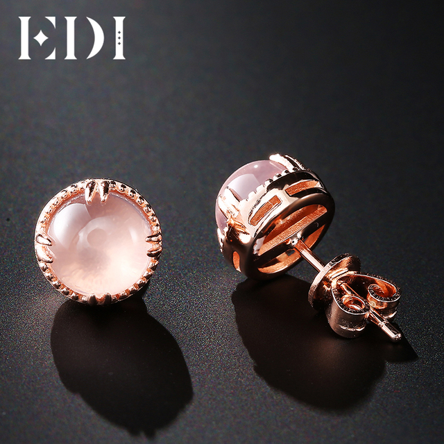 EDI Fashion 7mm Natural Rose Quartz 100% 925 Sterling Silver Stud Earrings For W