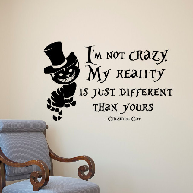 Alice in wonderland wall sticker cheshire cat quotes vinyl decals room wall art decoration diy home