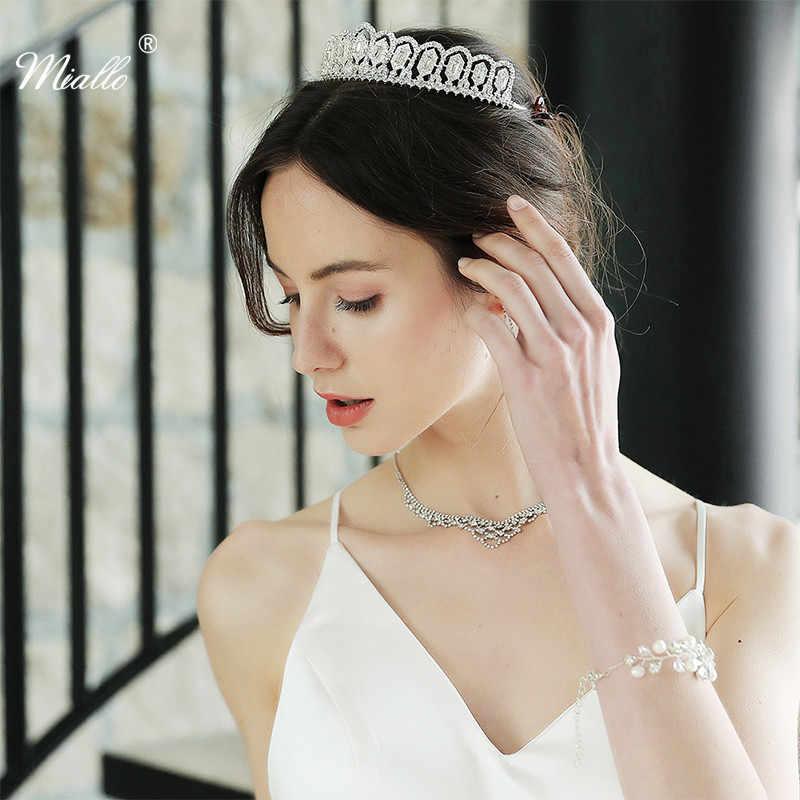 Miallo новейшая классика Полный австрийский кристалл королева принцесса тиары и короны свадебные женские головные уборы Свадебные Корона диадема