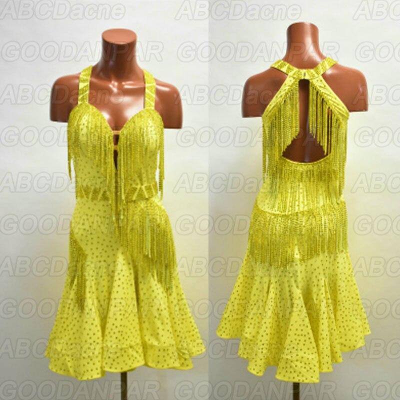 2019 New Latin Dance Dress Women Sexy Tassel Dress For The Dance Yellow Halter Dress For Ballroom Dancing Tango Dress