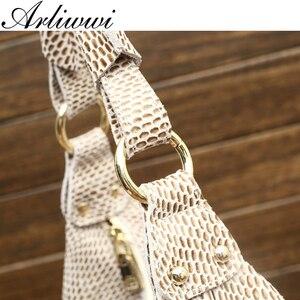 Image 5 - Arliwwi 100% Genuine Leather Shiny Serpentine Shoulder Bags Big Casual Soft Real Snake Embossed Skin Big Bag Handbags Women GB02