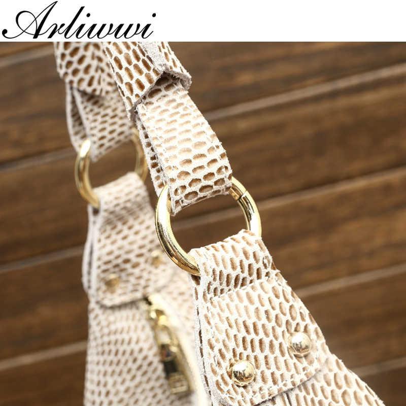 Arliwwi 100% натуральная кожа блестящая змеиная сумка на плечо большая Повседневная Мягкая настоящая тисненая змеиная кожа большая сумка женские сумки GB02