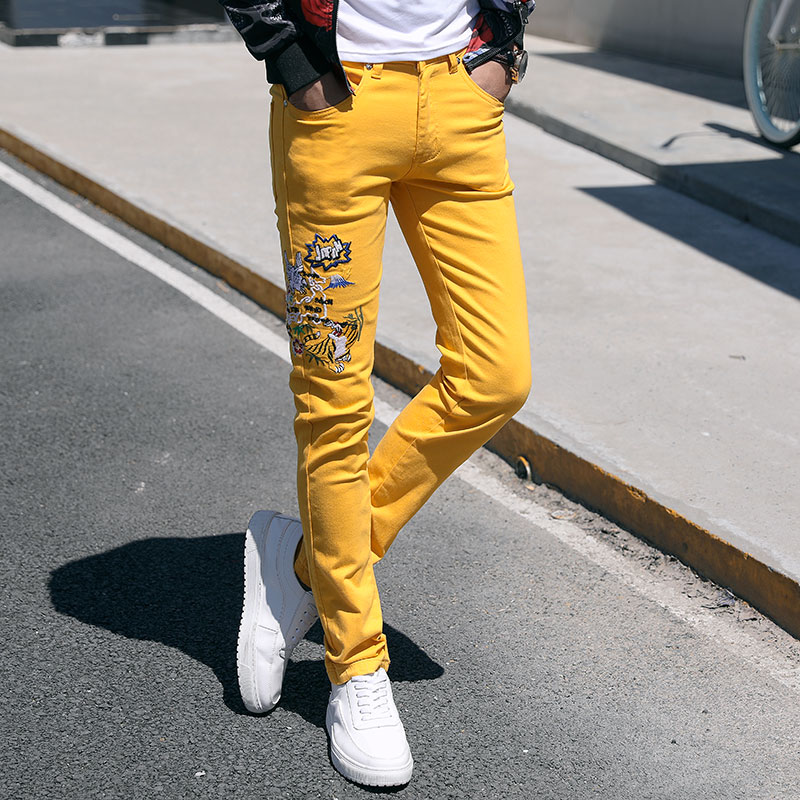 Fashion Streetwear Mens Jeans Slim Fit Elastic Punk Pants Hip Hop Jeans Embroidery Denim Trousers Men Pink Yellow Green Color