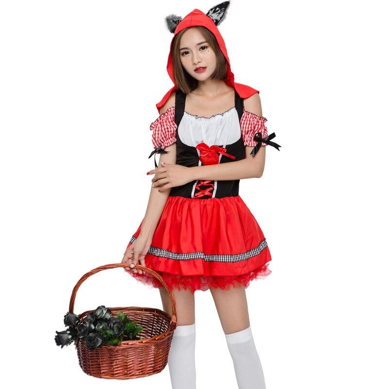 23 49 15 De Reduction Classique Femmes Histoire Livre Personnage Cosplay Costume Rouge Femme De Chambre Mini Robe Halloween Theme Fete Robe Avec