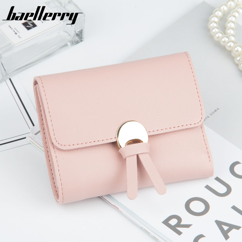 New buckle purse ladies short section tassel wallet multi-card bit Japan and South Korea version wallet purse three fold change