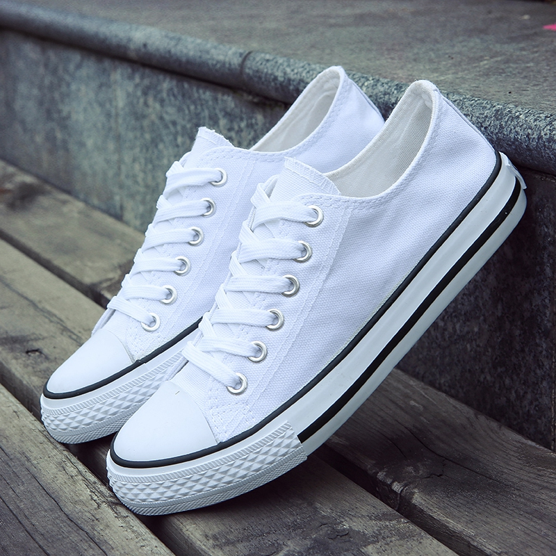 SUROM Canvas Men Vulcanize Shoes Fashion Classic White Casual Shoes Men Comfortable Lace Up Flats Male Lightweight Breathable(China)