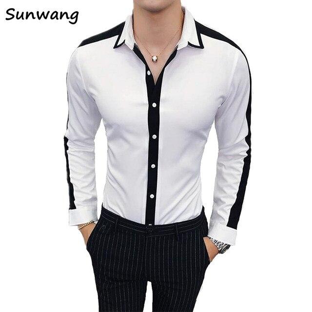 b467455e3f18f3 2019 Autumn Men Shirts Asian Size New Arrivals Slim Fit Male Shirt White  and Black Long Sleeve British Style Cotton Men's Shirt