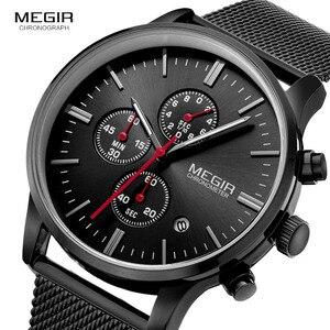 Image 5 - Megir relógio masculino de pulso, relógio de quartzo com pulseira de aço inoxidável, cronógrafo com calendário, luminoso analógico, moda masculina 2011