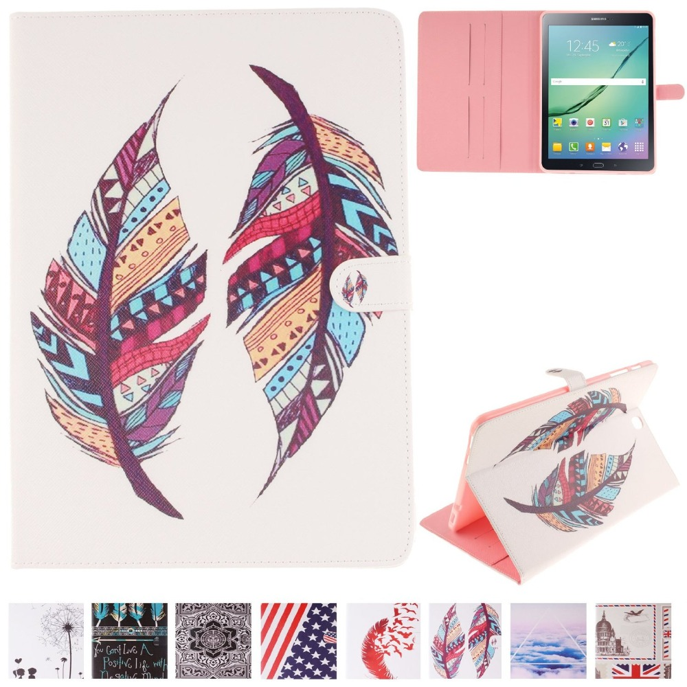 SM-T810 Case Tab S2 9.7 Case Fashion Pattern Stand Cover for Samsung Galaxy Tab S2 9.7 T810 T815 with Card Slot / Cash Holder samsung galaxy tab s 2 sm t810 white