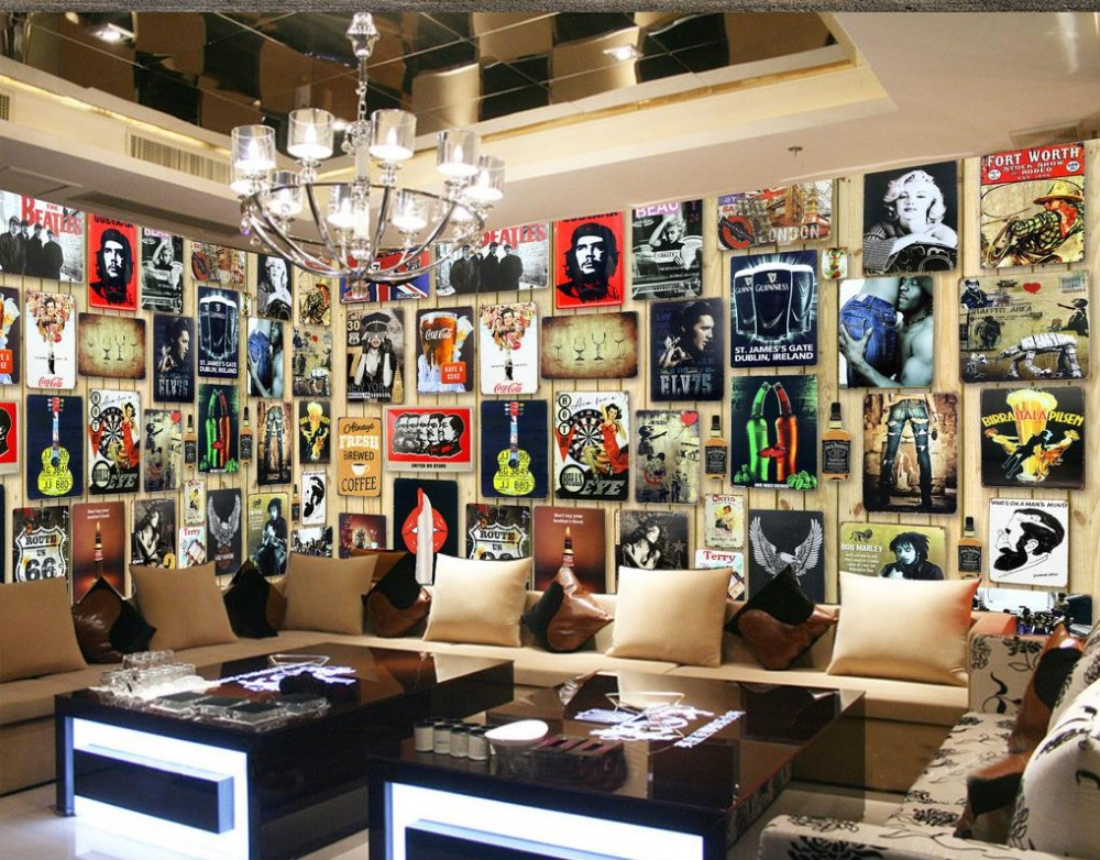 custom 3d wallpaper Europe and the United States Celebrity Wood board bar Simple Background wall photo 3d wallpaper