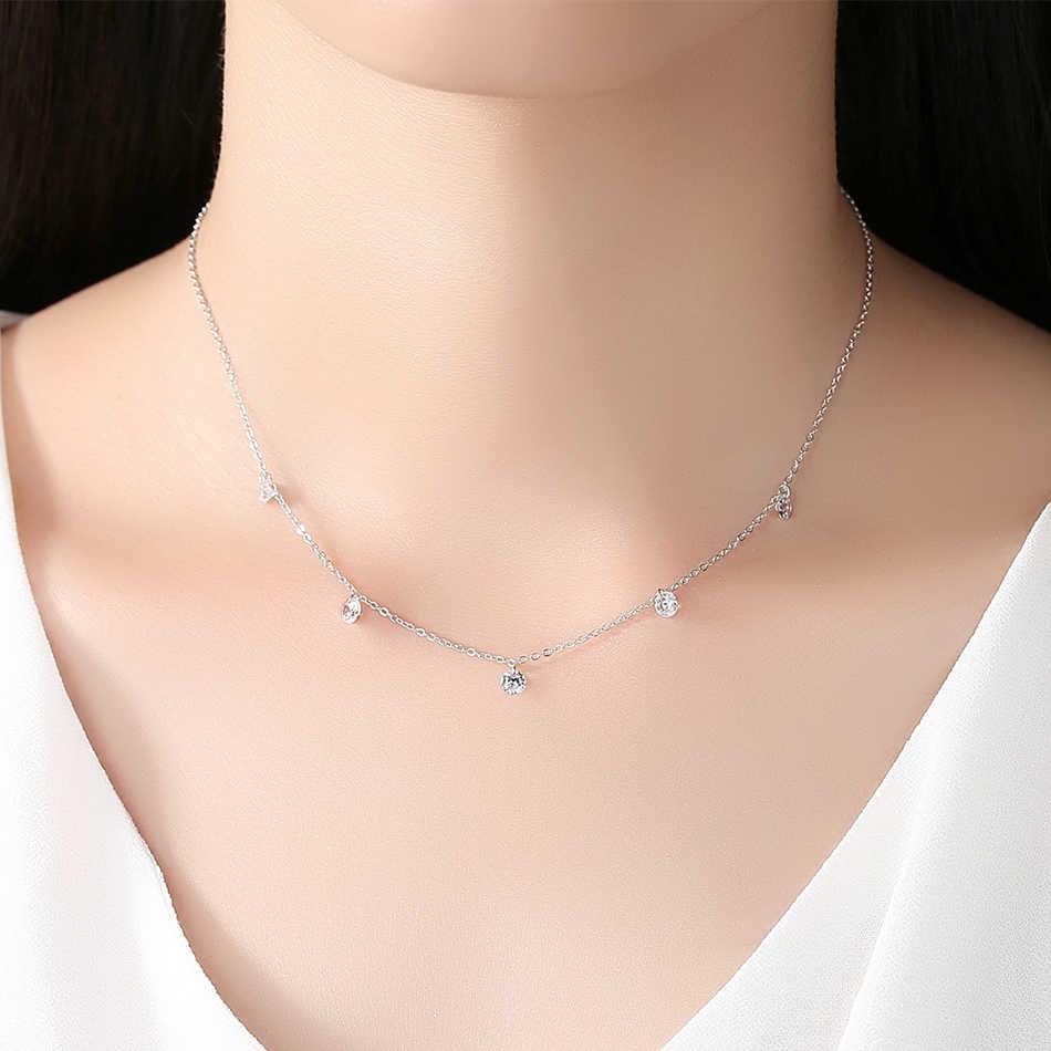 ELESHE 925 Sterling Silver Choker naszyjnik regulowany łańcuszek biżuteria Pave Crystal CZ naszyjnik dla kobiet biżuteria ślubna