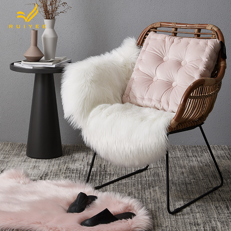 RUIYEE marque moderne imitation laine tapis salon tapis table basse tapis chevet couverture solide couleur peluche décorative couverture