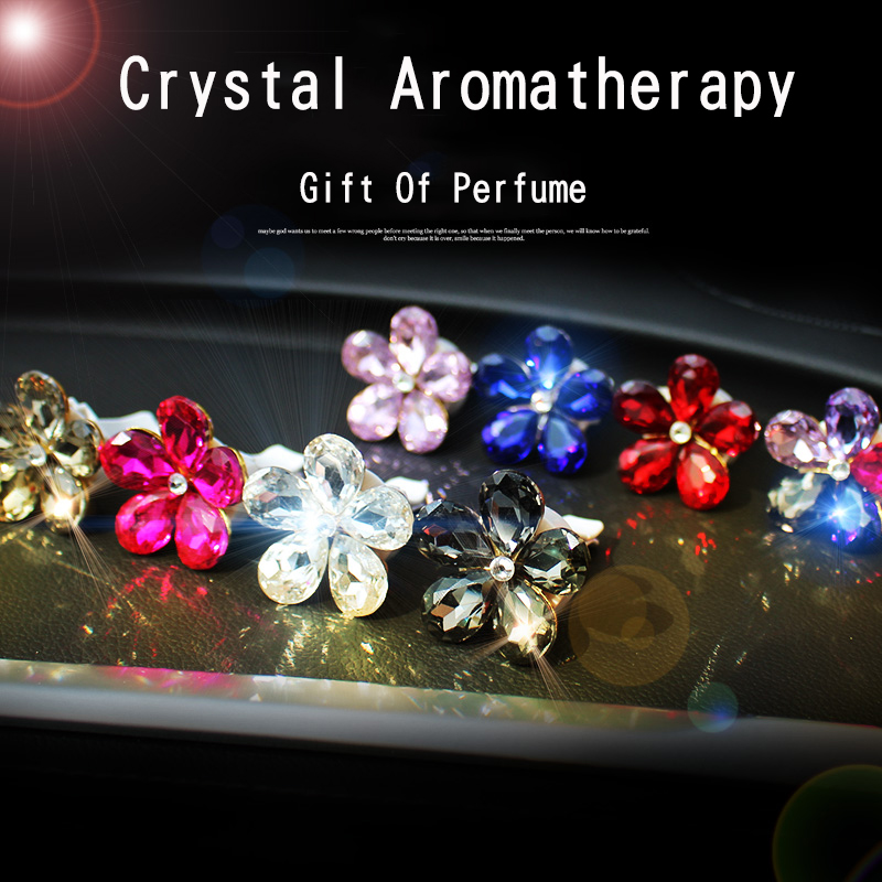 Crystal Flowers Outlet Perfume Auto Air Freshener Diamond Cute Decoration Air Refreshing Women Girls Furniture Accessories car outlet perfume air freshener with thermometer lime