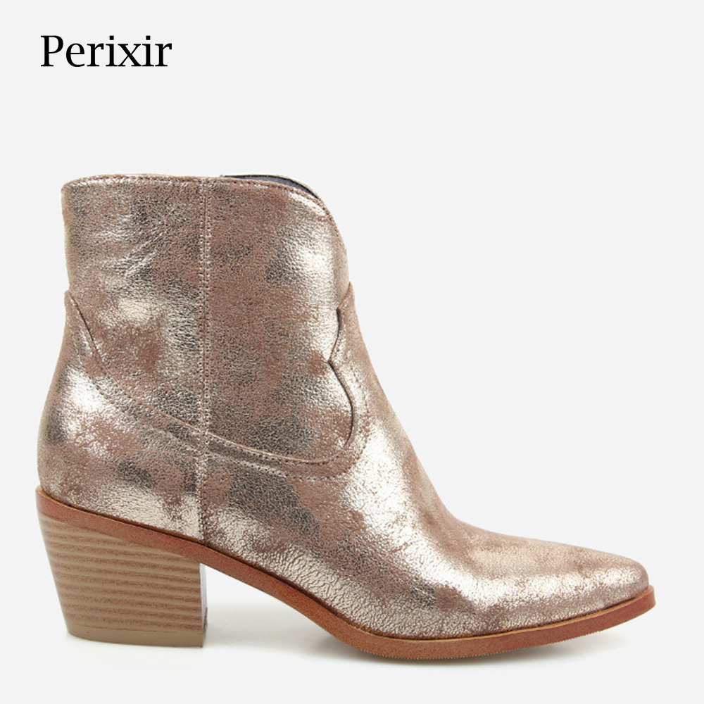 2019 Spring/Autumn New Fashion Women's High heeled Retro Square heel boots Zipper Concise Pointed Toe Woman Boot Golden shoes-in Ankle Boots from Shoes