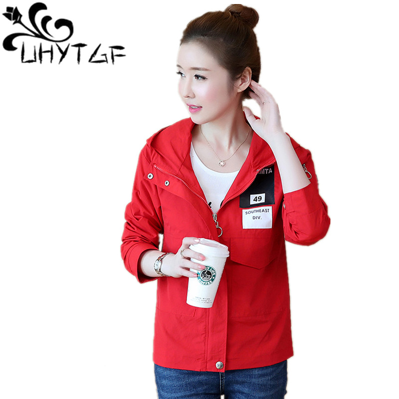 UHYTGF Women Basic jackets Women's Wild Jackets Korean Jackets fashion Famale 2019 Spring autumn New windbreaker Hooded top X216