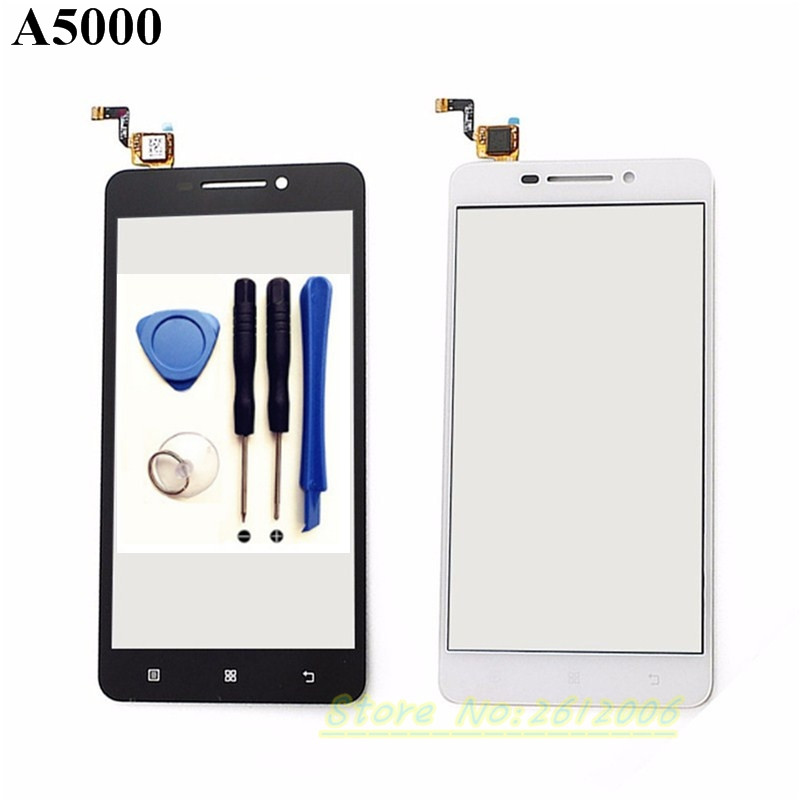 New Touch screen for Lenovo A5000 cell phone sensor touch screen digitizer with glass with Logo