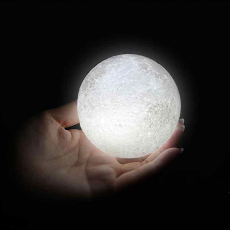 8-20cm 3D impresión LED mágica Luna Llena noche luz táctil Sensor escritorio Luna Lámpara USB regalo de Navidad cambio de Color luz Lunar