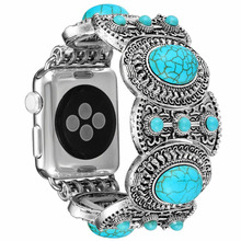 Turquoise bohemian Ethnic Antique Style Strap For apple watch band 42/38mm Bracelet for iwatch series 4 3 2 1 44/40mm accessory