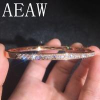 AEAW Genuine Solid 14K Rose White Yellow Gold 36pcs 2.5mm DF Moissanite Lab Diamond Bangle for Women