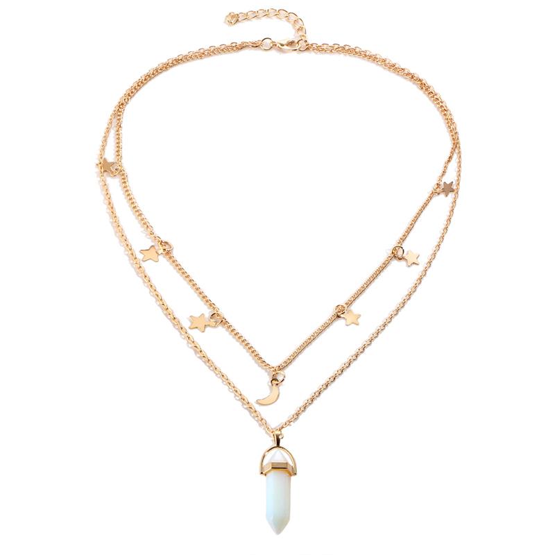 HTB1b7rUQFXXXXXBXXXXq6xXFXXXr - Moon Star Choker necklaces for Women Gold Color Double Layer Crystal Pendant Necklace Jewelry PTC 262