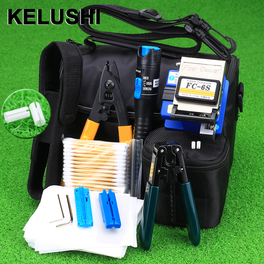 KELUSHI 2018 New 13 copë / Set FTTH Tool Optic Fiber Kit with FC-6S Cleaver and Plastic 5mW Visual Fault Locator Tool Stripper Wire
