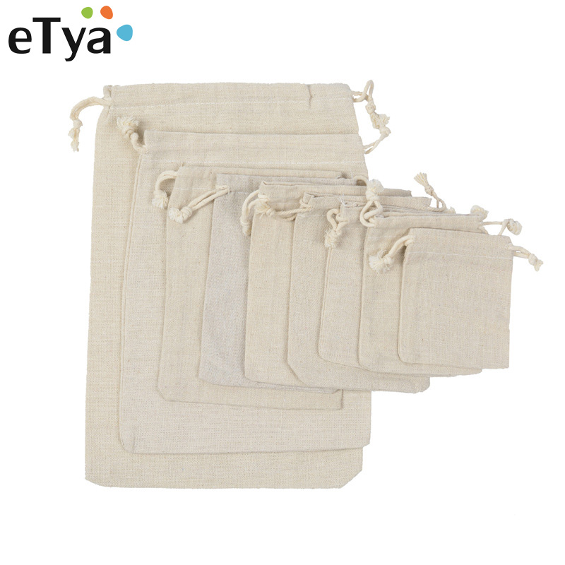 eTya Handmade Drawstring Bag Travel Shopping bag Cotton Linen 9 Size Drawstring Storage Bag Jewelry Package Christmas Gift Pouch candy cane patterned drawstring gift bag storage backpack