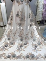 High Quality African Tulle Lace Fabric 3d flower French Net Lace JRB 52504 for bridal dress