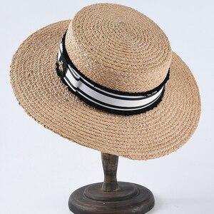 Image 5 - Mode Biene Sommer Sonne Hut Für Frauen Natürliche Bast Häkeln Stroh Hut Mit Band Flache Panama Hut Sommer Reise Strand hüte