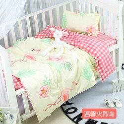 Nuovo Arriva Flamingo bambino culla set culla protector morbido e caldo del bambino biancheria da letto Culla Trapunta, duvet/Copriletto/Cuscino, con ripieno