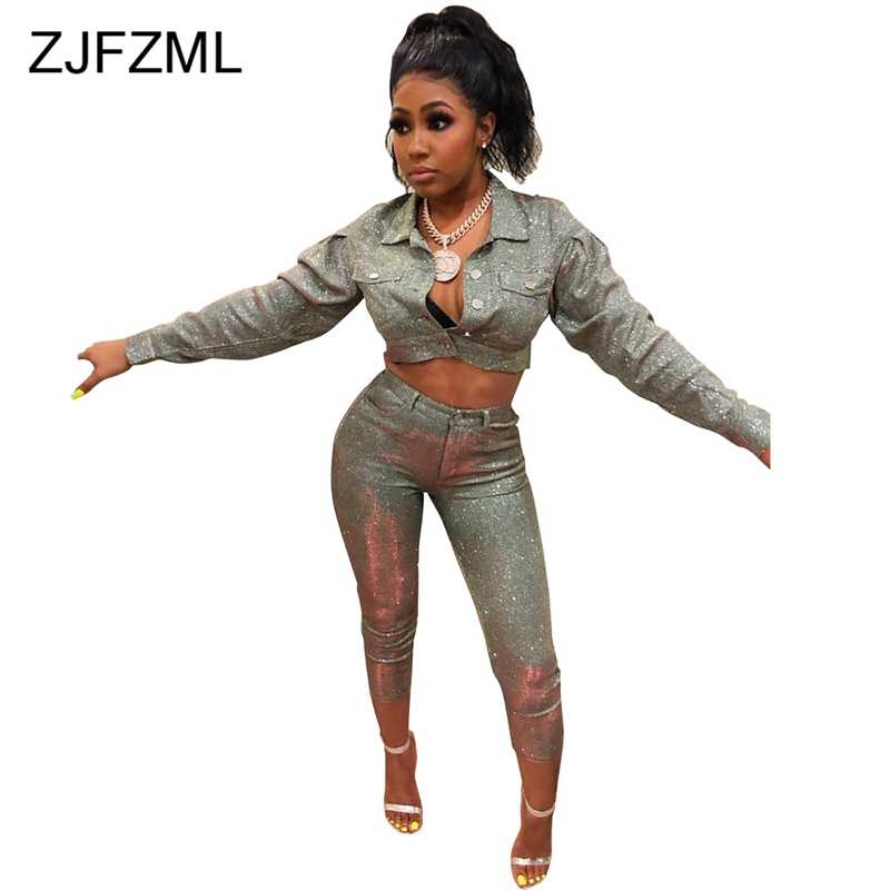 Shinning Sequin Safari Style Sexy Two Piece Set Women Long Sleeve Button Up Crop  Jacket + 7552404ec28c