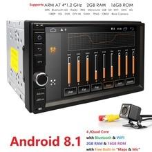 Quad Core Android 8.1 2G RAM 16G ROM Support 4G WIFI voiture réseau GPS 2 din voiture universelle sans lecteur Radio DVD 1080 P DVR DAB + TPMS