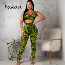 Kakan summer new womens sexy leopard tight bodysuit two-piece suit green jumpsuit club party