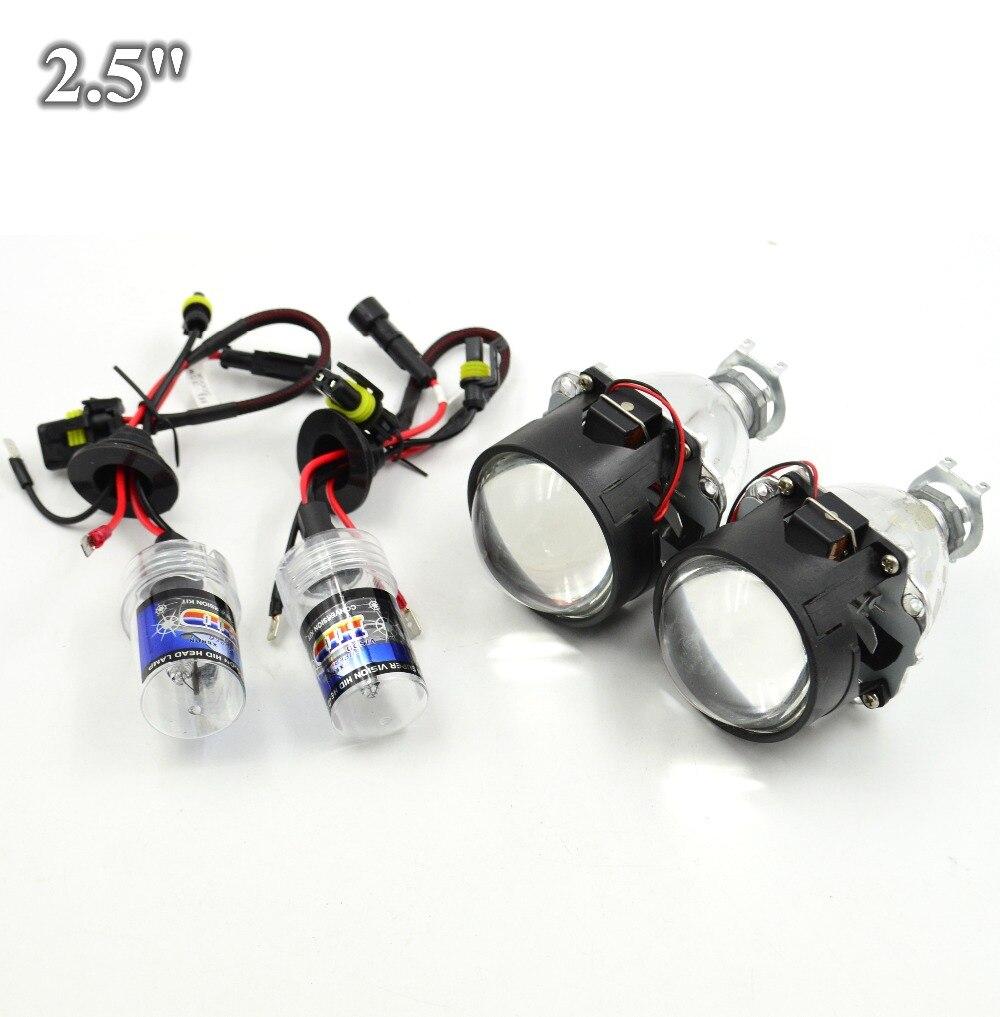 2pcs 2.5 inch H1 Bixenon bi-xenon Projector lens with hid xenon bulb H1 H4 H7 car hid projector lens headlight Headlamp