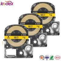 Kodex 3 팩 SC18YW 블랙 노란색 카세트 엡손 호환 라벨 테이프 LC-5YBW 18 미리메터 x 8 메터 (3/4x26