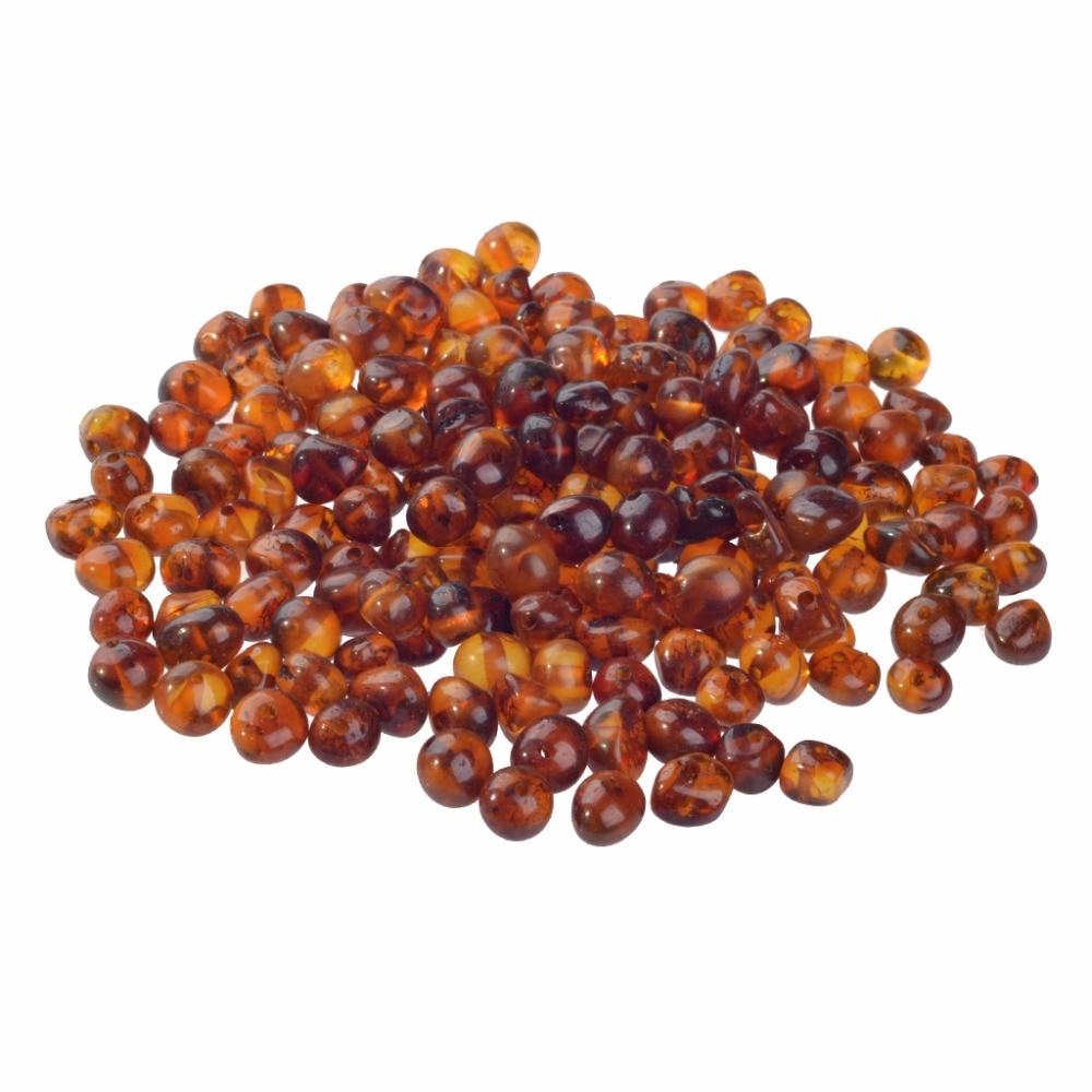 Perles dambre de la baltique trous pré-percés de largeur 5-6mm pour corder des bijoux-fournitures de travaux manuels en vrac pour faire un collier de dentition