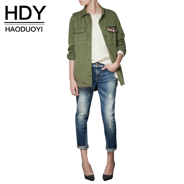 HDY Haoduoyi navy green short trench  turn-down collar Outwears diamond women Coats for wholesale