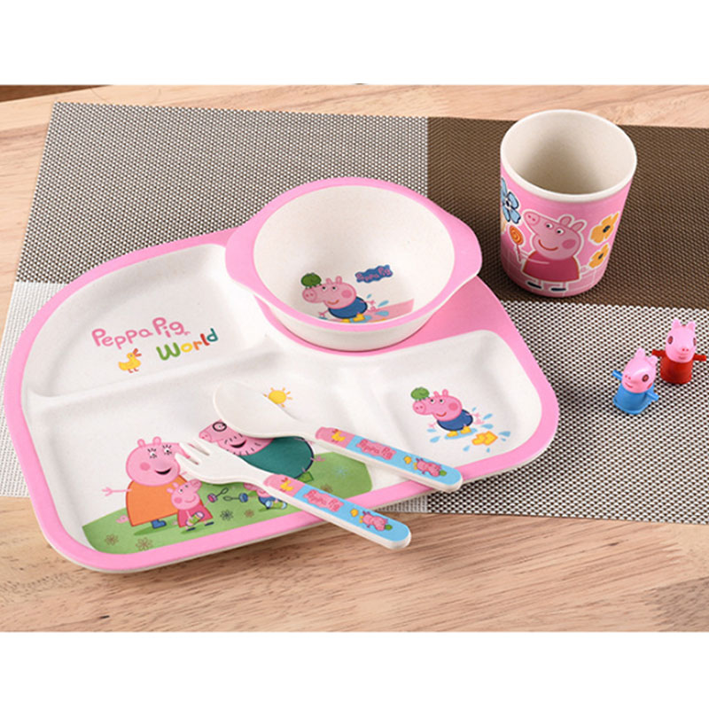 Yilala 5 Pieces/Set Plastic Rice Dish Dinnerware Hand painted Cartoon Peppa Pig Bowl Cup Fork Spoon Plate Tableware Set for Kids-in Dishes u0026 Plates from ...  sc 1 st  AliExpress.com & Yilala 5 Pieces/Set Plastic Rice Dish Dinnerware Hand painted ...