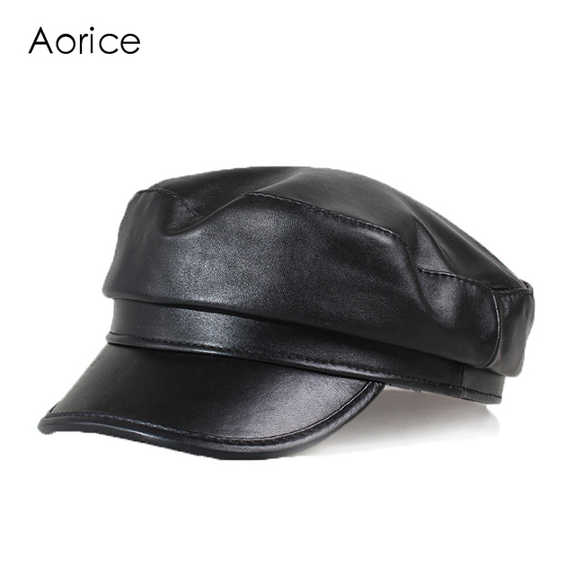 HL151-B  genuine leather men baseball cap hat CBD high quality  men's real sheep skin leather adult solid hats caps
